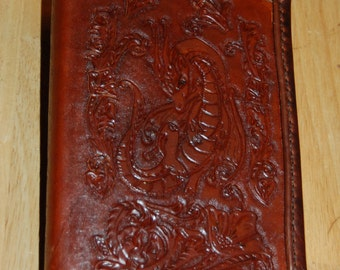 Tooled leather notebook, 1/3 sheet size