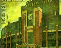 Green Bay Packers art print - Lambeau Field stadium. Great addition to man cave or boys room decor. Size 11x11 inch