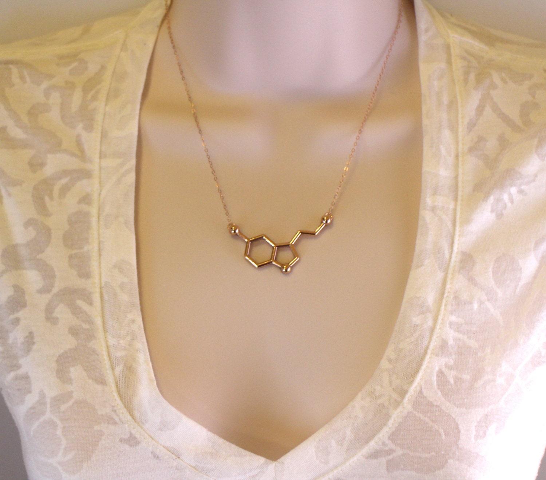 gold serotonin molecule necklace chemistry necklace