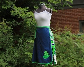Vintage 1970 Knee Length Blue Frog Wrap Skirt