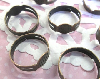 8mm Adjustable Ring Blanks, Copper Plated, 25 pieces A185