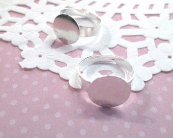 12mm Adjustable Ring Blanks, Silver Plated, Pick Your Amount