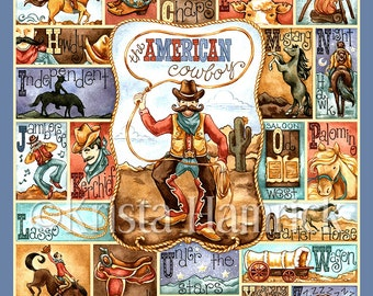 Cowboy Alphabet-- original art print 8X10, 11X14