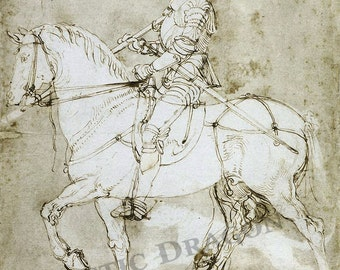 "Albrecht Durer ""Knight on Horse"" 1512-1513 Reproduction Digital Print Armored Knight Gothic"