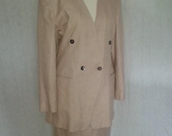 Vintage skirt suit by Alexon Pink Cream checked skirt Jacket Suit wool silk mix  UK 10 Size Small