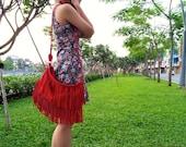 Leather fringe bag, boho bag, tribal fringe bag