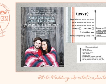Photo Wedding Invitation / Photo Wedding Invitations and RSVP Postcards / Picture Wedding Invitations / Rustic Photo Wedding Invitations