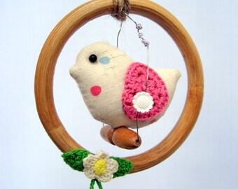 Baby mobile, nursery decor, mobile, girl's bedroom decor, Birdy on perch mini mobile for nursery or girl's room