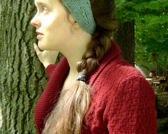 Turquoise flower knit headband