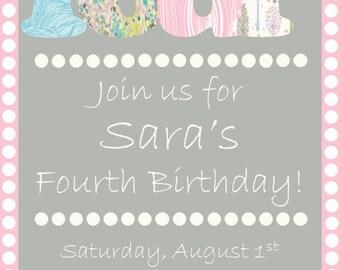 Pastel Fourth Birthday Invitation