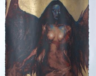 "Famous Rare Piece of Art ""Nightbird"" Nattangel Lithograph Signed by Jan Naliwajko"