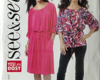 See & Sew 5700 - Drawstring Dress or Blouse with Neckband and Roll Sleeve - Size XS - XXL