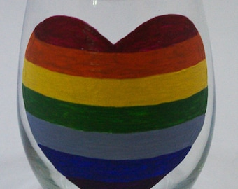 "Rainbow Heart/""Pride"" Hand Painted Wine Glass"