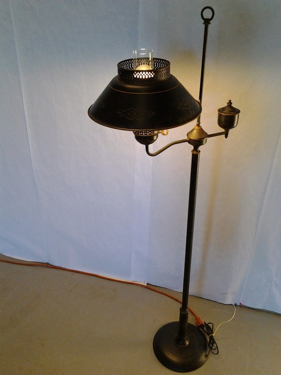 Vintage Mid Century Tole Ware Standing Lamp Floor Tole Lamp