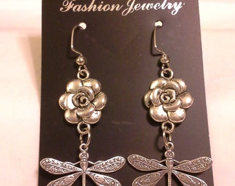 Roses, Dragonflies, and Crystals,  Earrings E133