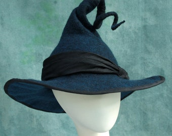 Witch Hat - Black Witch Hat - Curly Witch Hat - Pointed Witch Hat - Felt Witch Hat - Witch's Hat