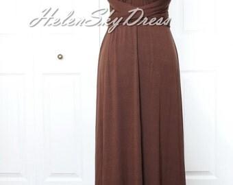 Convertible Infinity Full length Bridesmaids Dress in Cocoa Dark Brown chocolate