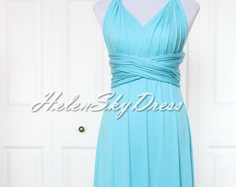 Bridesmaid Dress Infinity Dress short Convertible Dress Knee Length in Blue