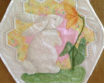 Wall hanging, bunny, rabbit, child motif, spring, Easter, appliquéd, reclaimed quilt block, hexagons, flower garden, repurposed,