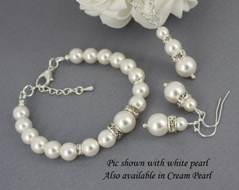 Pearl Jewelry Set, Swarovski Necklace, Bracelet and Earrings Set, Bridesmaids Gifts, Bridesmaids Jewelry, Bridal Jewelry, Wedding Jewelry
