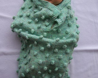 Hand Knitted Green Baby Papoose And Hat Set - Free Shipping
