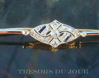 Sapphire Brooch Pin Edwardian Brooch Sapphire Jewelry Blue Sapphire Brooch Vintage Sapphire Diamond Brooch Blue Sapphire Brooch Jewelry