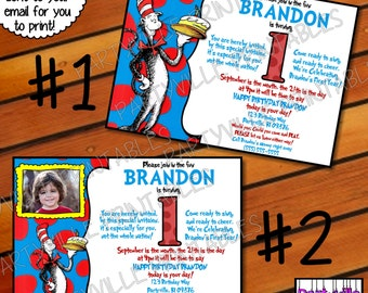 Dr. Seuss BIRTHDAY INVITATION Dr. Seuss inspired invites Cat in the hat photo 1st Birthday Candle Blowout 2 styles to choose from