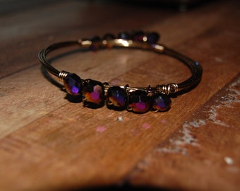 Wire wrapped beaded bracelet, antique brass with purple beads