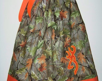 CAMO Pillowcase Dress / Realtree + Orange / Deer / Flower Girl / Wedding / Birthday / Baby / Girl / Infant / Toddler / Boutique Clothing