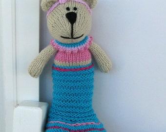 Stuffed Toy Mermaid Bear - Hand Knit - Plush Doll - Child Toy - Stuff Toy - Stuff Bear - Mermaid Doll - Knitted Bear -  Knit Toy - Kids Toy