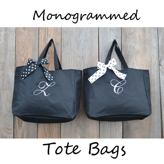 8 Personalized Bridesmaids Gifts Tote Bag Personalized Tote, Bridesmaids Gift, Monogrammed Tote