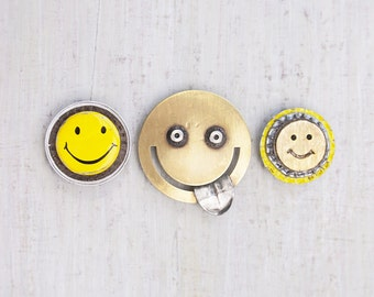 3 Happy Face Fridge Magnets - recycled bottlecaps, jewelry and junk - upcycled eco-friendly housewarming gift