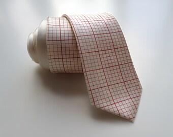 Engineering graph paper tie. Grid paper necktie.  Silkscreened men's 100% silk tie. Perfect math teacher, engineer, or geek gift.