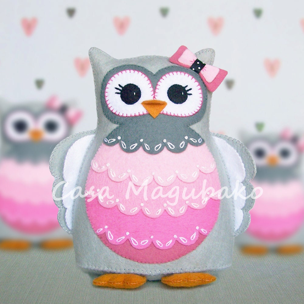 PDF Pattern Owl Felt Pattern Hand-Stitched Owl Stuffed