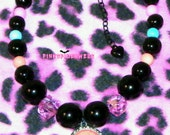 Black and Pastel Bead Cameo Pendant Necklace