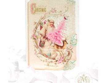 Santa Claus vintage style Christmas card, in pink and cream, blank inside