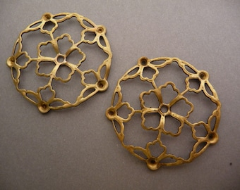 2 Filigree Circles with Settings - Raw Brass  39mm (2)