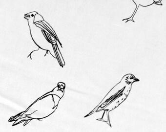 Fabric yard- Lavai Maria Bird drawing pattern handprinted on white cotton