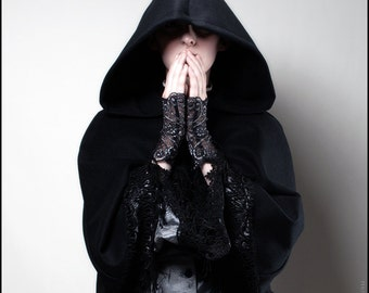 Black Wool Hooded Capelet trimmed in Long Black Lace - Brand New by Kambriel