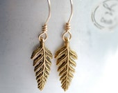 Fern Frond Earrings, Autumn Jewelry, Gold Dangle Earrings, Woodland Wedding, Nature Jewelry, Gold Earrings, Gold Fill, Trendy Jewelry