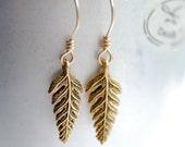 Fern Frond Earrings, Autumn Jewelry, Gold Dangle Earrings, Woodland Wedding, Nature Jewelry, Gold Earrings, Gold Fill, Trendy Jewelry