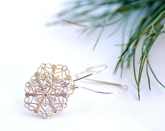 Silver Snowflake Earrings, Winter Jewelry, Filigree Earrings, Winter Wedding, Woodland Earrings, Nature Jewelry, Snow - Melt