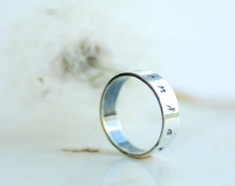 Surrender Ring, Silver Ring Band, Word Jewelry, New Age Jewelry, Meditation Ring, Silver Stacking Ring, Touchstone, New Age Jewelry