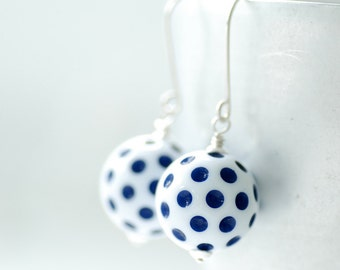 Blue and White Earrings, Navy and White, Polka Dot Earrings, Nautical Earrings, Summer Jewelry, Polkadot Jewelry, Fun Earrings, Dangle