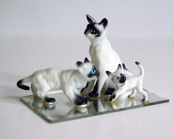 Vintage Siamese Cat Figurines Japan Bone China Mirror