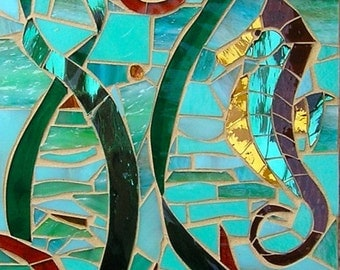 Mosaic Sea Horse and Nautilus Card - Blank Greetings Card - Seahorse Card Nautilus Card - Sea Shell - Sea Creature - Seahorse Wall Art