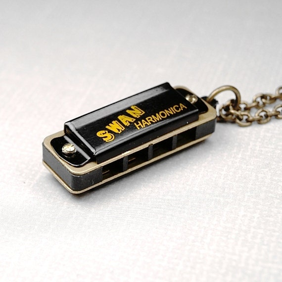 Harmonica Necklace: Harmonica Necklace Miniature 3D Small Black Gold Brass Metal