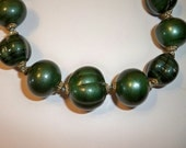 Green Necklace Vintage Malachite Knotted Beads Necklace