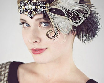 Party Girl Peacock Feather Flapper Headband Black And Champagne