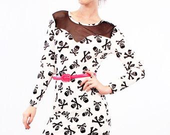 40% off SALE Agoraphobix Have A Peep Skull Print  and fishnet Long Sleeve Mini Dress